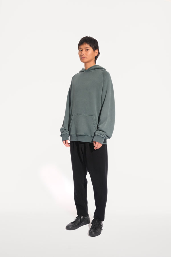 oftt - 03 - heavyweight hooded sweatshirt - green - organic cotton fleece - image 2