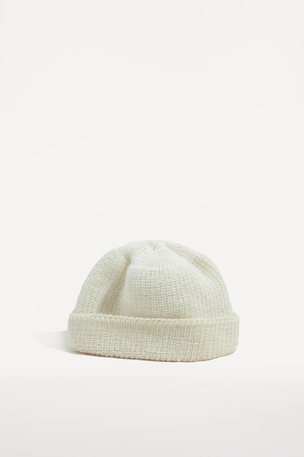 oftt - 00 - knitted rib woolen beanie hat - off-white - pure wool