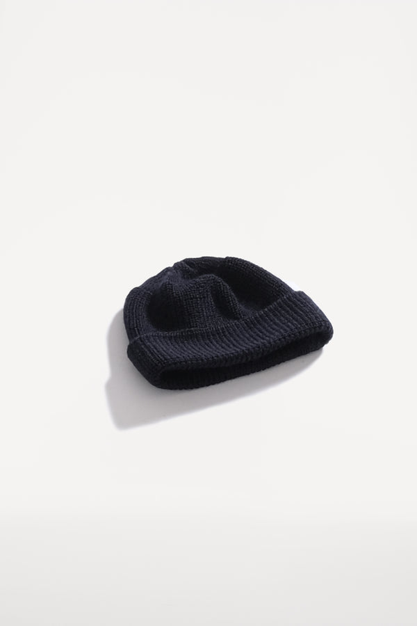 oftt - 00 - knitted rib woolen beanie hat - navy - pure wool