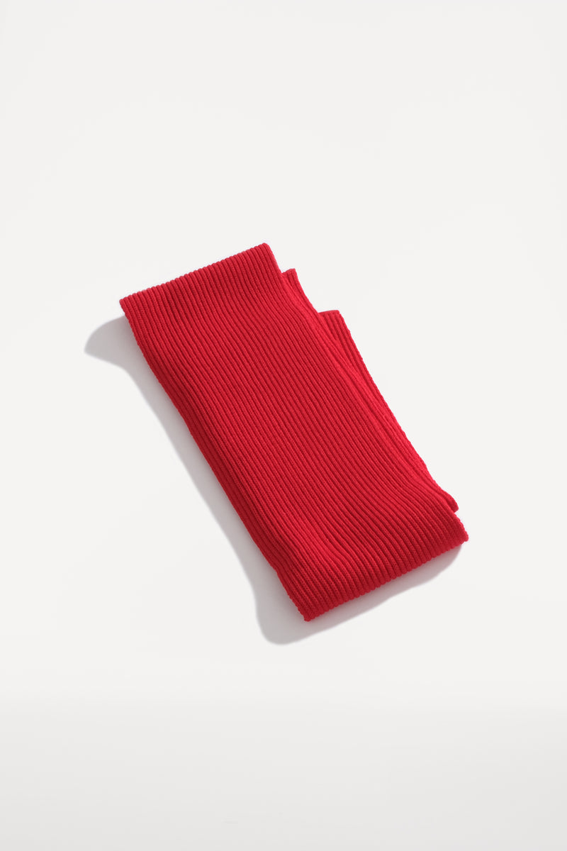 oftt - 00 - knitted rib scarve - red - merino wool
