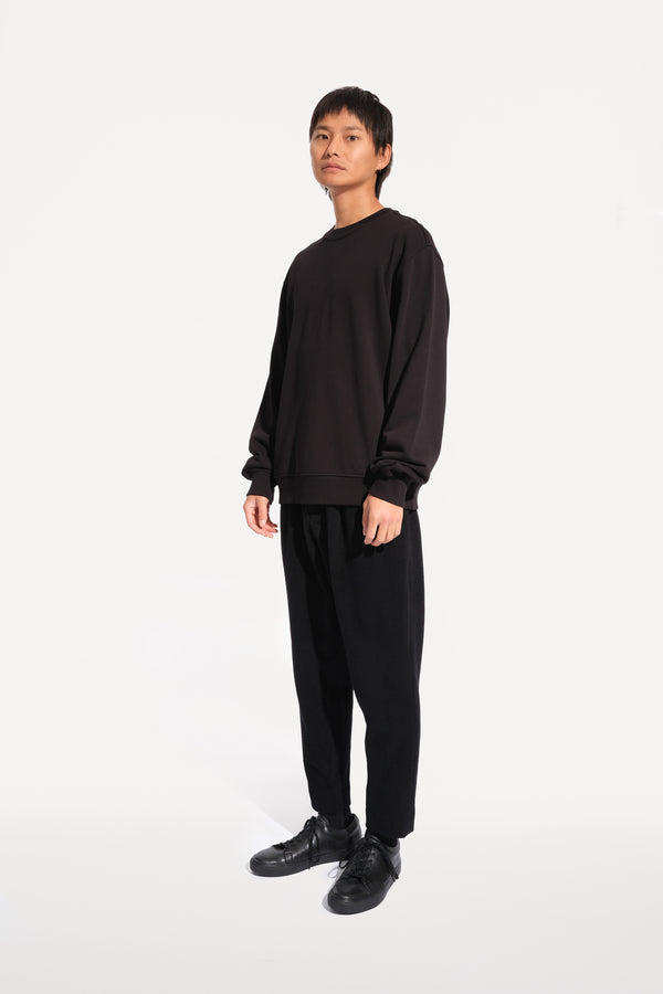 oftt - 02- reversible sweatshirt - black - organic cotton fleece - image 2