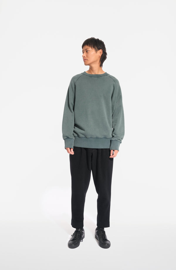 oftt - 02- heavyweight sweatshirt - green - organic cotton fleece - image 1