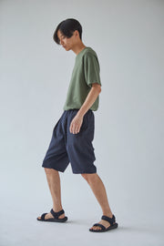 Oftt often berlin germany menswear sustainable organic eco pleated shorts navy wool