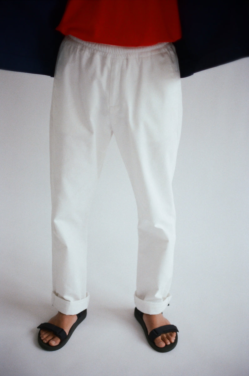Oftt often berlin germany menswear sustainable organic eco straight leg trousers off-white