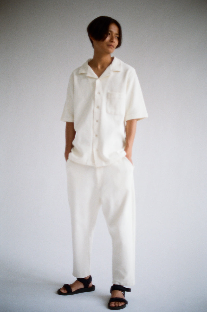 Oftt often berlin germany menswear sustainable organic eco waffle trousers off-white