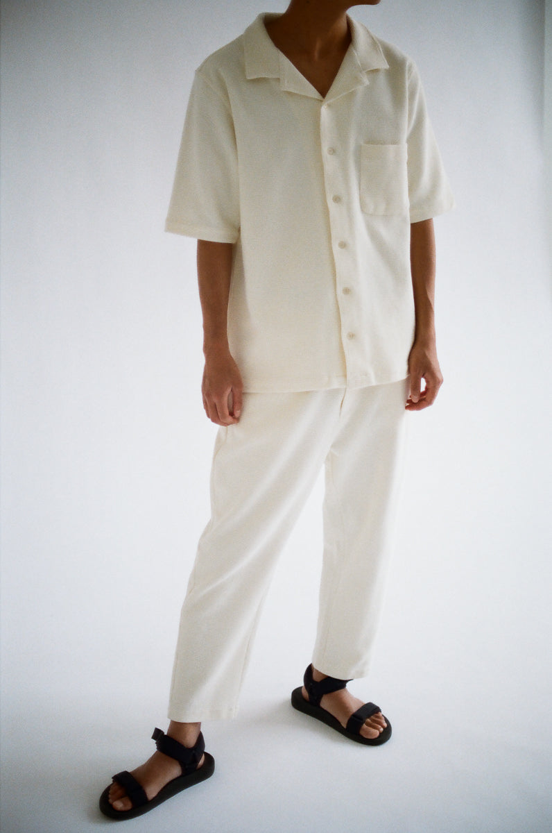 oftt - 08 - Waffle Trousers- natural white - organic cotton