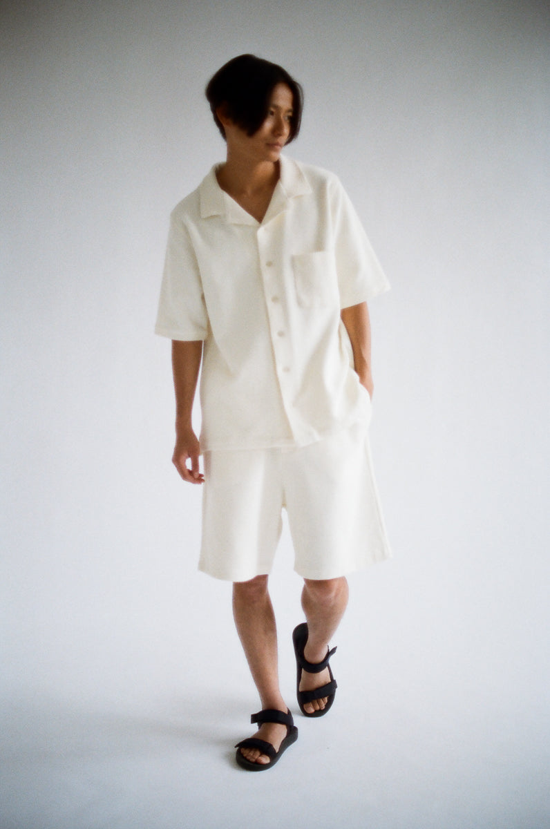 Oftt often berlin germany menswear sustainable organic eco waffle shorts off-white