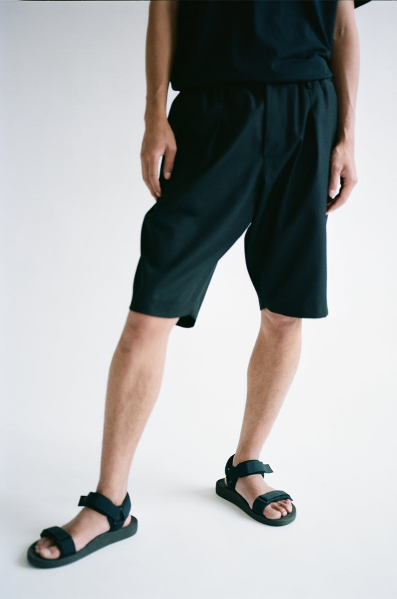 Oftt often  berlin fashion sustainable organic menswear pleated shorts black