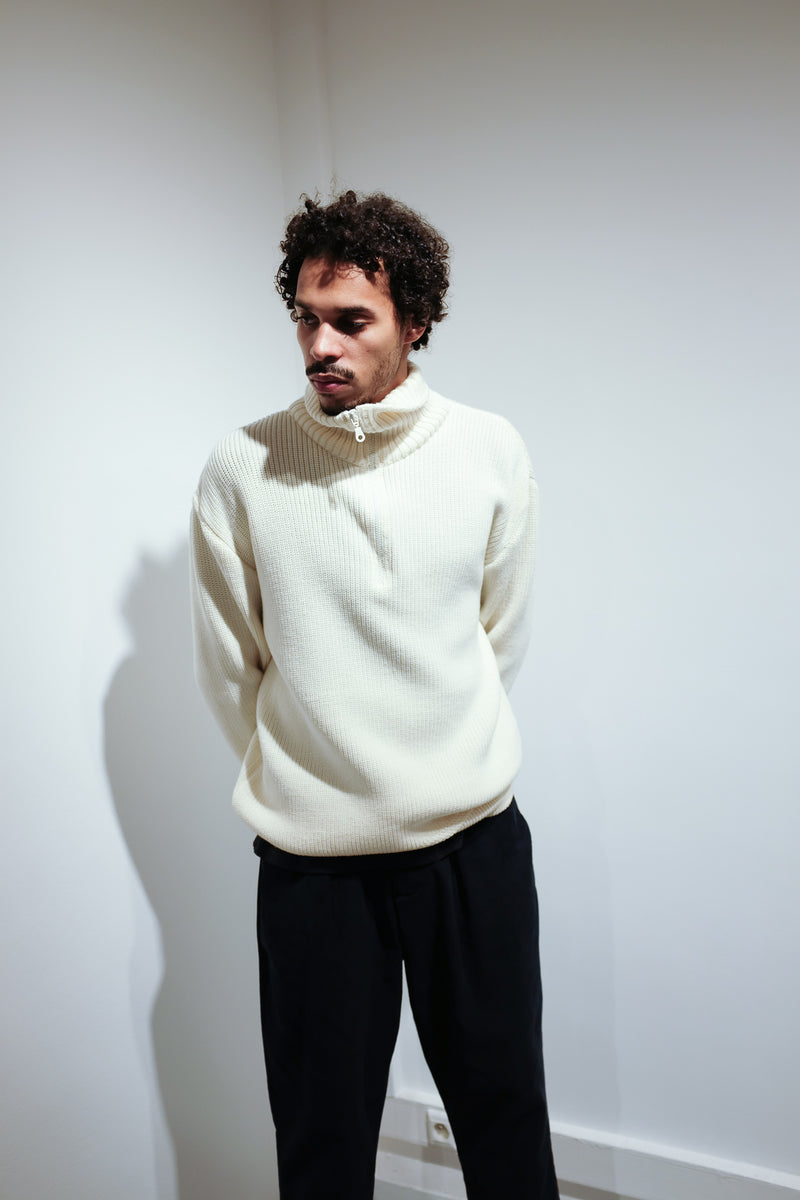 oftt - 04 - half-zip heavy knit  jumper - white - merino wool - image 7