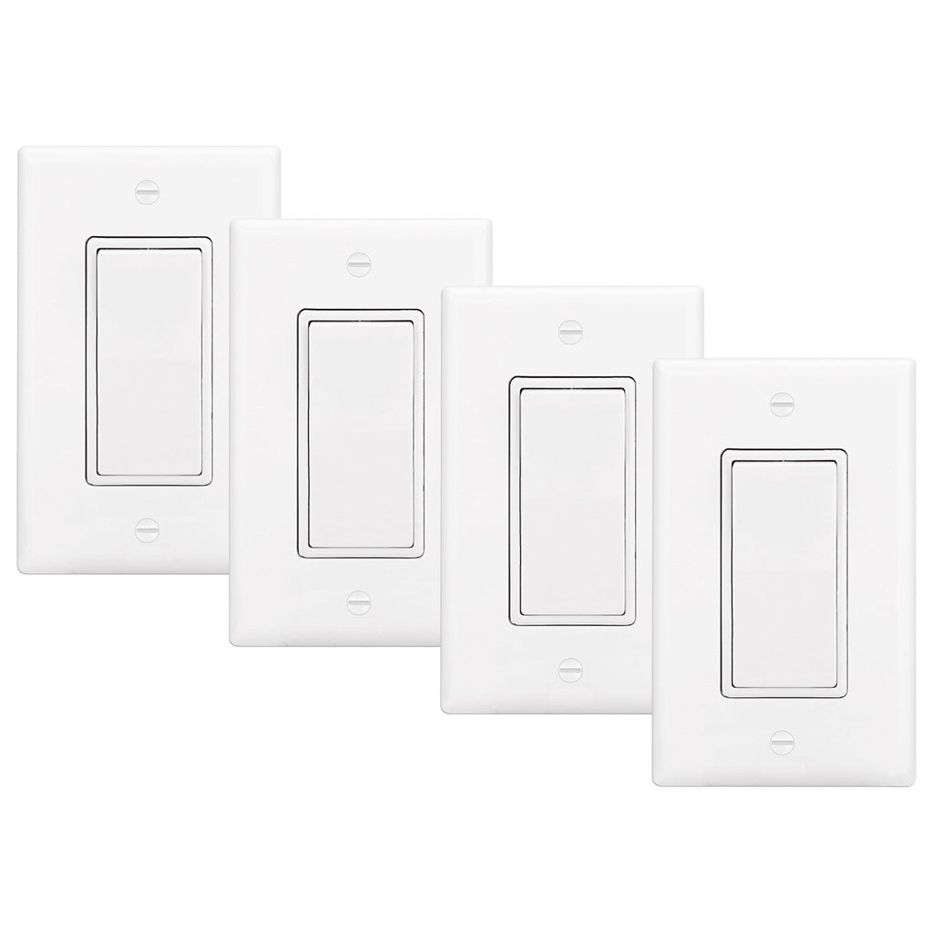 [4 Pack] BESTTEN 3-Way Decorator Wall Light Switch with Wall Plate, 15A 120/277V, On/Off Rocker Paddle Interrupter, UL Listed, White