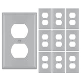 [10 Pack] BESTTEN 1-Gang Duplex Receptacle Wall Plate, Standard Size, Unbreakable Polycarbonate Outlet Cover and Switch Cover, UL Listed, Grey