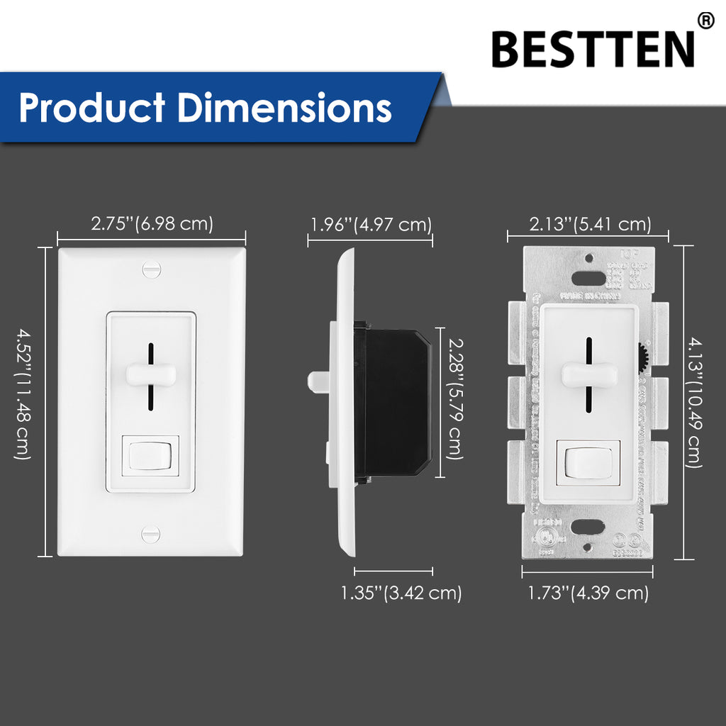 1/5/10 Pack - BESTTEN Dimmer Switch, Single Pole or 3 Way, for dimmable LED Light, Halogen and Incandescent Bulb, Vertical Slide Control, ON/Off Rocker, Decorator Wall Plate Included, cUL Listed
