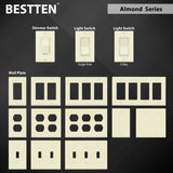 "[2 Pack] BESTTEN Almond 2 Gang Decorator Wall Plate, Standard Size, Unbreakable Polycarbonate Outlet and Switch Cover, H4.53"" x W4.57"", UL Listed"
