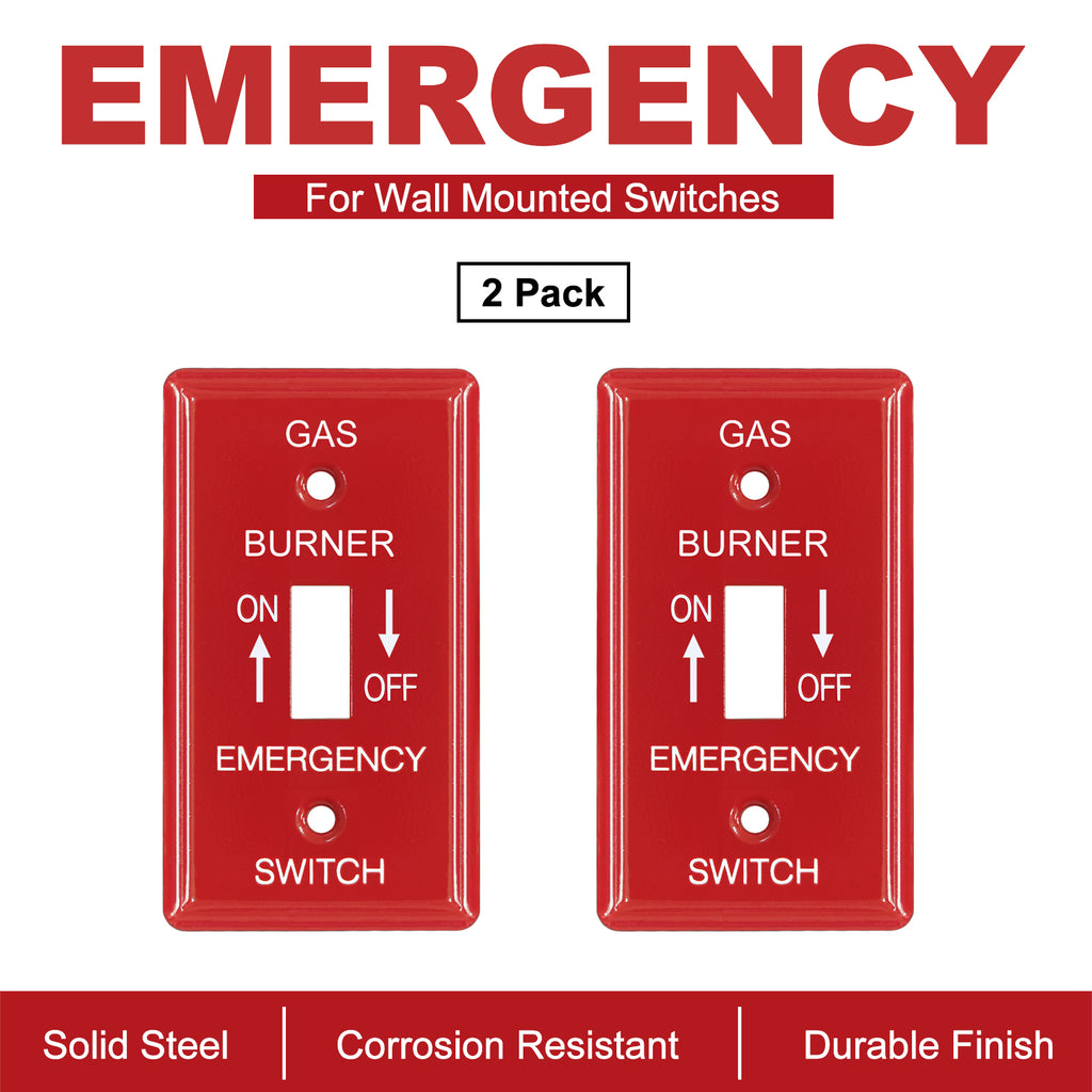 [2 Pack] BESTTEN 1-Gang Red, Emergency Shut-Off Toggle Metal Switch Plate, Utility, UL Listed, Code Compliant