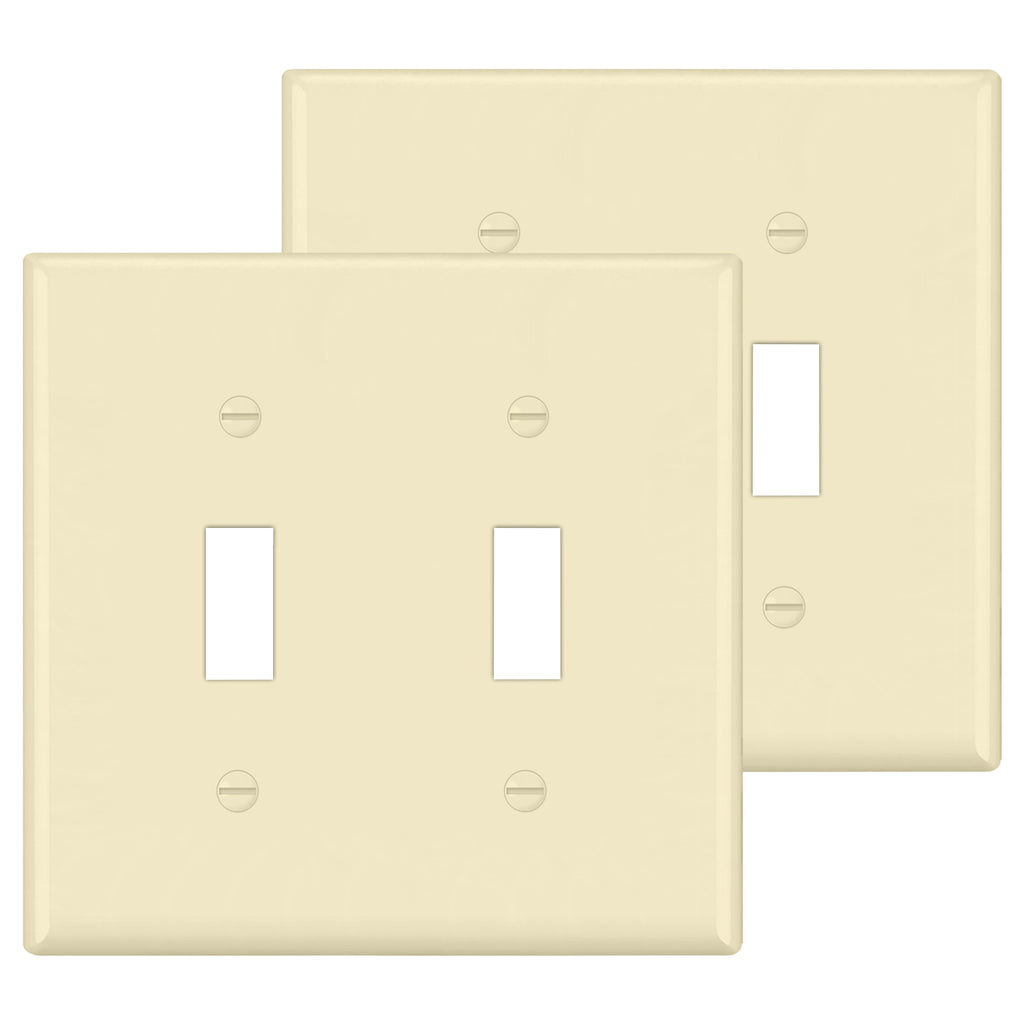 [2 Pack] BESTTEN 2-Gang Ivory Toggle Wall Plate, Unbreakable Polycarbonate Toggle Light Switch Cover, UL Listed