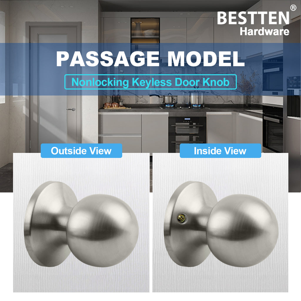 [5 Pack] Passage Door Knob Set with Nonlocking, Ball Door Knob for Hallway and Closet, All Metal, Satin Nickel Finish, by BESTTEN