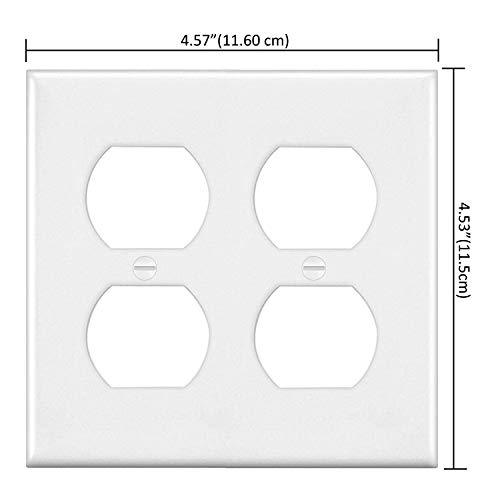 [2 Pack] BESTTEN 2-Gang Duplex Receptacle Wall Plate, Standard Size, Unbreakable Polycarbonate Outlet and Switch Cover, UL Listed, White