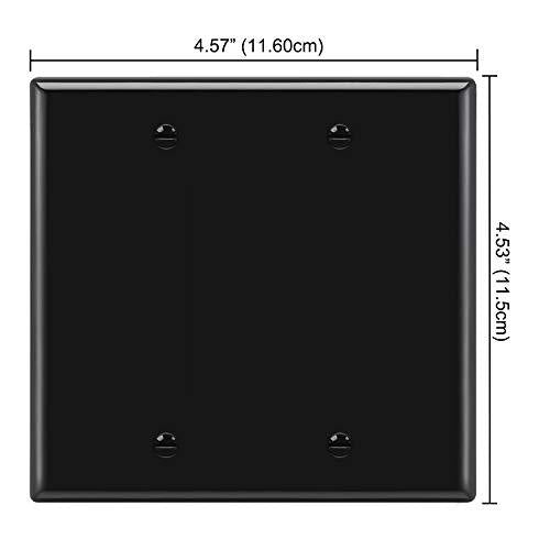 [2 Pack] BESTTEN 2-Gang No Device Blank Wall Plate, Standard Size, Unbreakable Polycarbonate Thermoplastic, UL Listed, Black