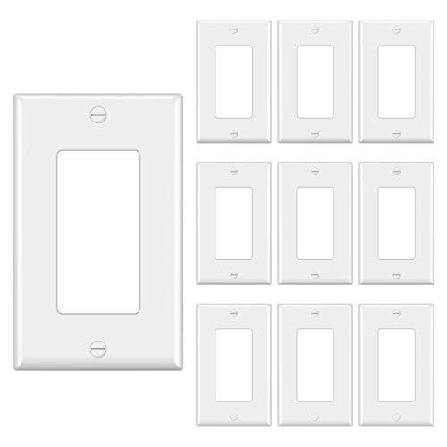 [10 Pack] BESTTEN 1-Gang Decorator Wall Plate, Standard Size, UL Listed, White