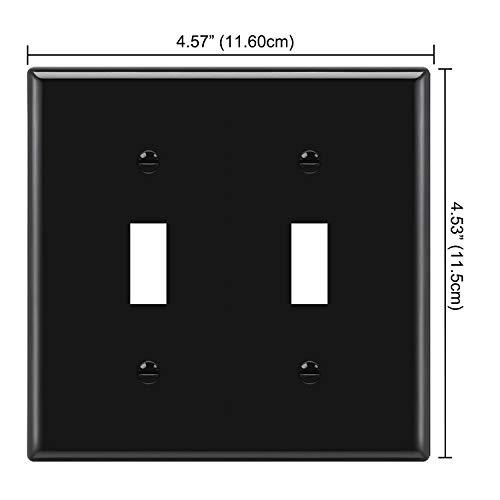 [2 Pack] BESTTEN 2-Gang Toggle Wall Plate, Standard Size, Unbreakable Polycarbonate Toggle Switch Cover, UL Listed, Black