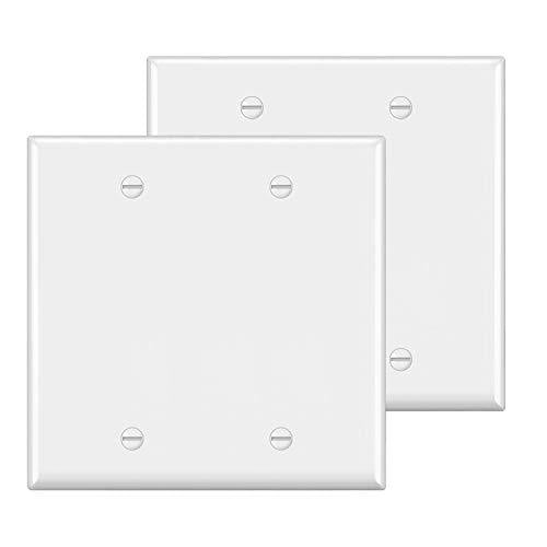 [2 Pack] BESTTEN 2-Gang No Device Blank Wall Plate, Standard Size, Unbreakable Polycarbonate Thermoplastic, UL Listed, White