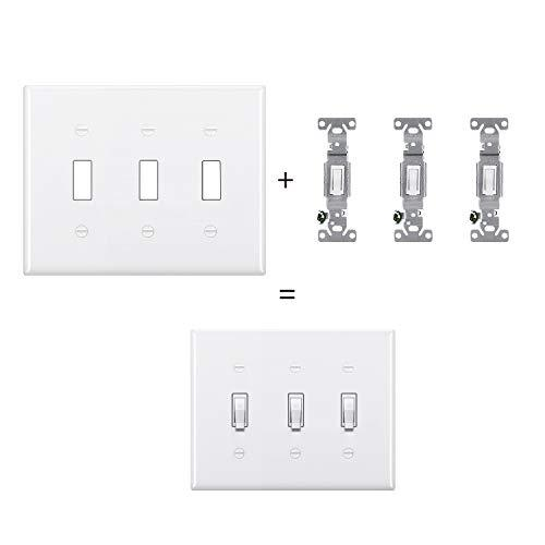 [2 Pack] BESTTEN 3-Gang Toggle Wall Plate, Standard Size, Unbreakable Polycarbonate Toggle Switch Cover, UL Listed, White