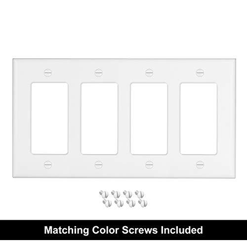 [2 Pack] BESTTEN 4 Gang Decorator/GFCI Device Wall Plate, Standard Size, Unbreakable Polycarbonate Outlet and Switch Cover, Device Mount, UL Listed, White