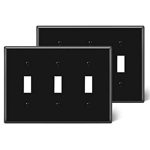 [2 Pack] BESTTEN 3-Gang Toggle Wall Plate, Standard Size, Unbreakable Polycarbonate Toggle Switch Cover, UL Listed, Black