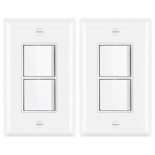 [2 Pack] BESTTEN Double Light Switch, Single Pole Combination Interrupter, 15A 120V, Dual Control Paddle Rocker, Residential & Commercial Use, cUL Listed, White