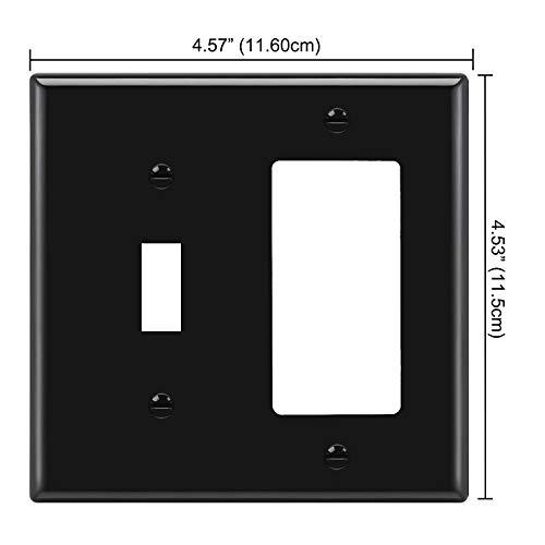[2 Pack] BESTTEN 2-Gang Combination Wall Plate, 1-Toggle/1-Decor, Standard Size, Unbreakable Polycarbonate Outlet and Switch Cover, UL listed, Black
