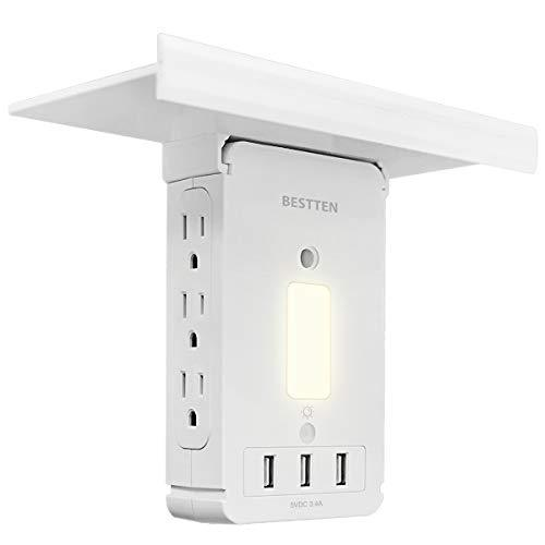 BESTTEN Wall Outlet Shelf with 3 USB Charging Ports (5V/3.4A) and LED Night Light, Removable Top Shelf, 6 Side Plug-in AC Outlets, 1020 Joule Surge Protector, FCC and SGS Certified