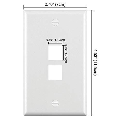 [10 Pack] BESTTEN 2-Port Keystone Wall Plate, for Keystone Jack and Modular Inserts, Unbreakable Polycarbonate, cUL Listed, White
