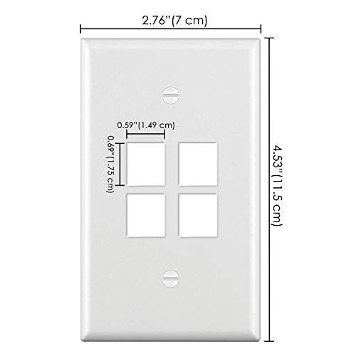 [10 Pack] BESTTEN 4-Port Keystone Wall Plate, for Keystone Jack and Modular Inserts, Unbreakable Polycarbonate, UL Listed, White