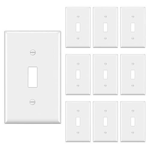 [10 Pack] BESTTEN 1-Gang Toggle Wall Plate, Standard Size, Unbreakable Polycarbonate Toggle Switch Cover, UL Listed, White
