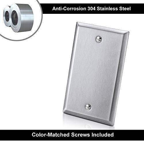 [5 Pack] BESTTEN 1-Gang No Device Blank Metal Wall Plate, Anti-Corrosion Stainless Steel Outlet Cover, Industrial Grade 304SS, Standard Size, Screw Included, Silver