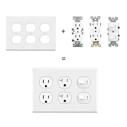 [2 Pack] BESTTEN 3-Gang Duplex Receptacle Outlet Wall Plate, Standard Size, Unbreakable Polycarbonate Outlet and Switch Cover, UL Listed, White