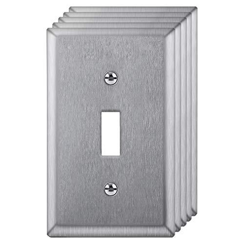 [5 Pack] BESTTEN 1-Gang Toggle Metal Wall Plate, Anti-Corrosion Stainless Steel Switch Cover, Industrial Grade 304SS, Standard Size, Screws Included, Silver