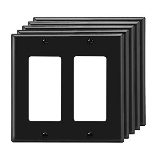 [5 Pack] BESTTEN Black 2-Gang Decorator Wall Plate, Standard Size, Unbreakable Polycarbonate Outlet and Switch Cover, UL Listed