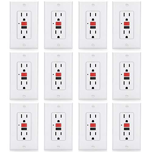 [12 Pack] BESTTEN 15 Amp Self-Test GFCI Outlet, Slim GFI Receptacle with LED Indicator, Wallplate Included, White