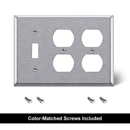 [2 Pack] BESTTEN 3-Gang Combination Metal Wall Plate, 2-Duplex/1-Toggle, Standard Size, Anti-Corrosion 430 Stainless Steel Outlet and Switch Cover, UL Listed, Silver