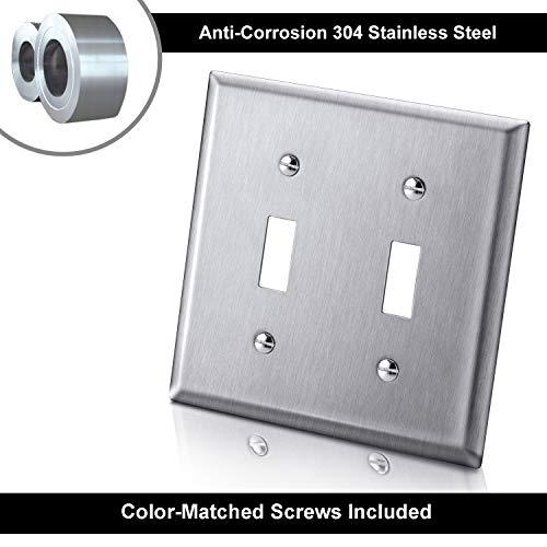 [5 Pack] BESTTEN Stainless Steel Toggle Switch Wall Plates, 2 Gang Standard Metal Switch Covers, Durable Corrosion Resistant Industrial Grade 304SS Materials, Silver