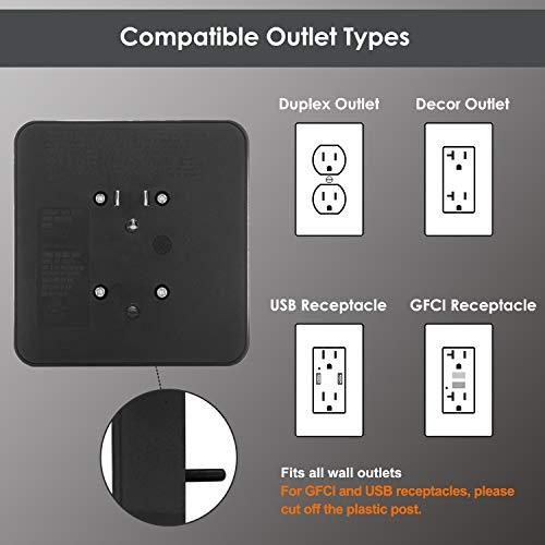[2 Pack] BESTTEN 900-Joule Wall Mount Surge Protector, 6-Outlet Extender with Mounting Screw for Duplex Receptacle, ETL Listed, Black