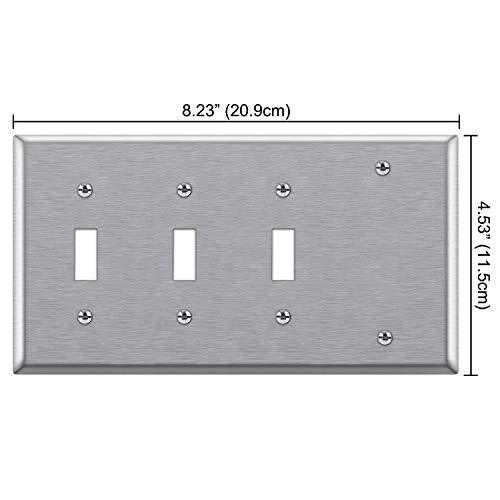 [2 Pack] BESTTEN 4-Gang Combination Metal Wall Plate, 1-Blank/3-Toggle, Standard Size, Anti-Corrosion 430 Stainless Steel Outlet and Switch Cover, UL Listed, Silver