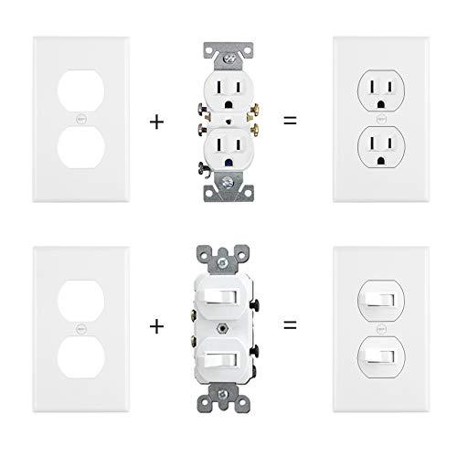 [20 Pack] BESTTEN 1-Gang Duplex Wall Plate, Receptacle Outlet Cover, Unbreakable Polycarbonate, Standard Size, UL Listed, White