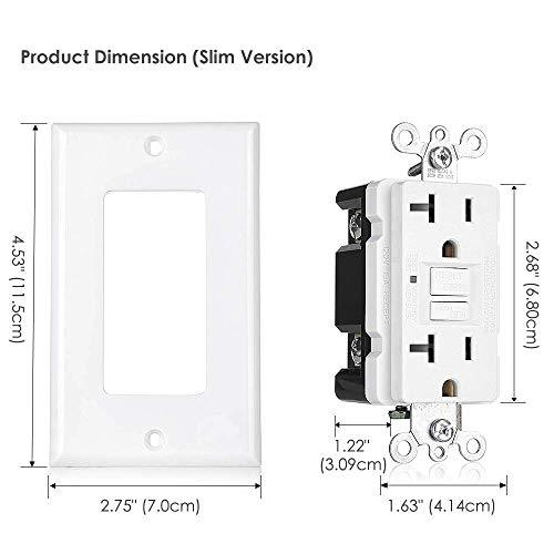 [6 Pack] BESTTEN 20 Amp Self-Test GFCI Outlet, Slim Design with LED Indicator and Wallplate, White