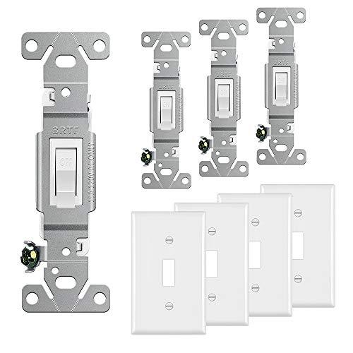 [4 Pack] BESTTEN Toggle Light Switch with Wall Plate, 3 Way & Single Pole, in-Wall ON/Off Fan & Light Switch Interrupter, 15 Amps 120-277 Volts, Grounding, Commercial Grade, UL Listed, White