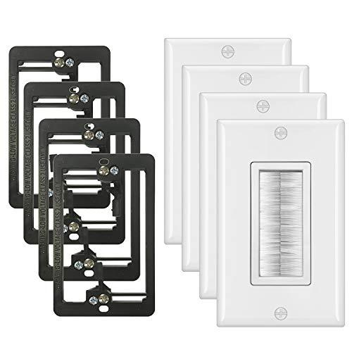 [4 Pack] BESTTEN 1-Gang Brush Wall Plate with Old Work Low Voltage Mounting Bracket, Cable Passthrough Insert for Speaker Wire, Coaxial Cable, HDMI/HDTV Cable, Network/Phone Cable, White