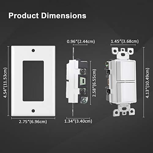 [2 Pack] BESTTEN Double On/Off Rocker Light Switch, Single Pole Combination Interrupter, 15A 120V, Dual Control Paddle Rockers, Wallplate Included, White