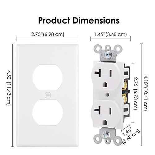 [10 Pack] BESTTEN Duplex Receptacle Outlet, 20A/125V/2500W, Wallplate Included, for Residential and Commercial, UL Listed, White