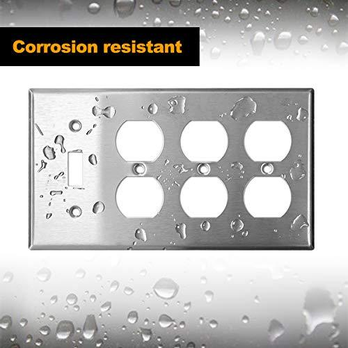 [2 Pack] BESTTEN 4-Gang Combination Metal Wall Plate, 3-Duplex/1-Toggle, 430 Stainless Steel Outlet and Switch Cover, Corrosive Resistant, Standard Size, Silver, UL Listed